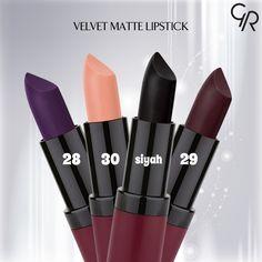 Velvet Matte Lipstick'e 4 yeni renk eklendi. Peki senin favorin hangisi? http://www.goldenrosestore.com.tr/velvet-matte-lipstick.html
