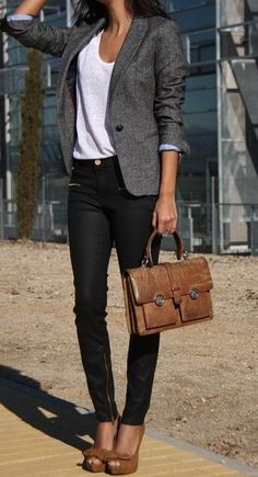 I like the look of the blazer with a casual T and trendy bottoms. Mixing in the brown shoes and bag makes for a unique look. more here