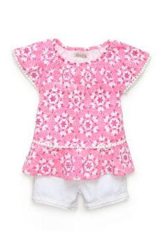 Lucky Brand  2-Piece Geo Peasant Top and Short Set Girls 4-6x