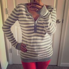 Ann Taylor Loft Sweater Sz. XS Ann Taylor Loft Sweater Sz. XS // gray and white striped. LOFT Sweaters