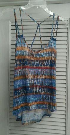 Threads Hi-Lo Stripped Shirt Sleeveless Blouse Top Boho Peasant Tribal Flowy M #Threads #Blouse #Casual