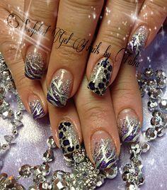 Purple zebra leopard nail art
