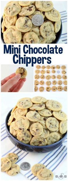 Mini Chocolate Chippers - Teeny Tiny Chocolate Chip Cookies Recipe via Butter With a Side of Bread - The BEST Bite Size Dessert Recipes - Mini, Individual, Yummy Treats, Perfectly Pretty for Your Baby and Bridal Showers, Birthday Party Dessert Tables and Holiday Celebrations!