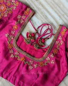 Want to get that stylish look in Saree. Take a look at these stunning and trending blouse designs photos for ultimate style. Blouse Back Neck Designs, Cutwork Blouse Designs, Wedding Saree Blouse Designs, Simple Blouse Designs, Stylish Blouse Design, Flower Embroidery Designs, Hand Work Design, Hand Work Blouse Design, Aari Work Blouse