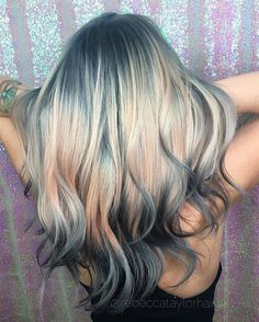 Love this idea.  Fantasy Unicorn Purple Violet Red Cherry Pink Bright Hair Colour Color Coloured Colored Fire Style curls haircut lilac lavender short long mermaid blue green teal orange hippy boho ombré woman lady pretty selfie style fade makeup grey white silver trend trending Pulp Riot