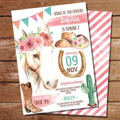 Rodeo Party, Rodeo Birthday Parties, Cowgirl Party, Birthday Party Invitations, Birthday Party Themes, 2nd Birthday, Pony Ride Birthday Party, Girl Horse Party, Birthday Ideas