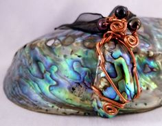 PAUA and Pearls Wire wrapped pendant with New by DeepWatersJewelry, $20.00