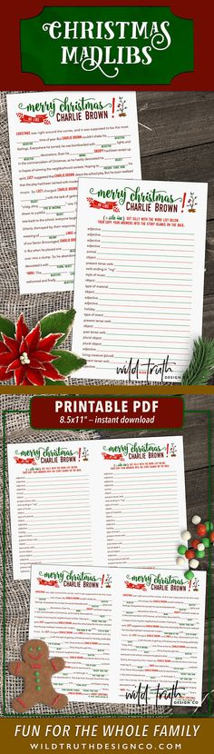This would be perfect for a family night! Charlie Brown Christmas Mad Lib - This printable holiday party game is fun for all ages, inspired by Charlie Brown's journey to discover the real meaning of Christmas. #ad
