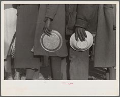 Negroes in the lineup for food at mealtime in the camp for flood refugees, Forrest City, Arkansas  1937 | Walker Evans