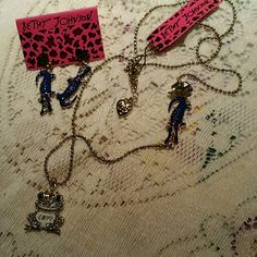 Betsey Johnson alligator/frog necklace & earrings. BETSEY JOHNSON Gold tone with pave sparkle frog. Alligator is navy blue. COMBINED WITH EARRINGS FOR ONE LOW PRICE Betsey Johnson Jewelry Necklaces