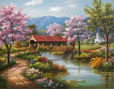 Sung Kim Covered Bridge in Spring painting for sale - Sung Kim Covered Bridge in Spring is handmade art reproduction; You can shop Sung Kim Covered Bridge in Spring painting on canvas or frame. Plaid Paint By Number, Paint By Number Kits, Spring Painting, Spring Art, Spring Theme, Landscape Art, Landscape Paintings, Belle Image Nature, Painting Prints