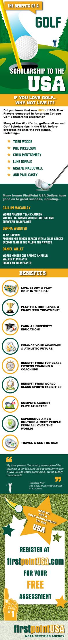What are the benefits of a Golf Scholarship to the USA?