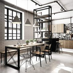 50 Enchant Industrial Dining Room Design with California Style Ideas - Decorate Your Home Industrial Kitchen Design, Industrial Dining, Industrial House, Industrial Style, Industrial Lighting, Industrial Furniture, Industrial Bedroom, Industrial Shelving, Modern Lighting