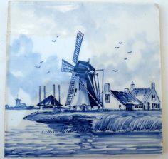 Vintage Delft Tile Dutch Ceramic Tile, Blue And White Delft Tiles, Blue Tiles, Blue And White China, Blue China, African Textiles, White Porcelain, Decoupage, Dutch, Retro