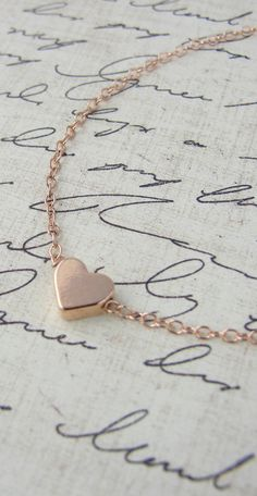 Rose gold heart necklace - rose gold necklace with rose gold heart. $44.00, via Etsy. LOVE LOVE LOVE!