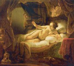 Rembrandt Harmensz. van Rijn.  Danae. 1636-1647, Öl auf Leinwand, 185 × 203 cm. St. Petersburg, Eremitage. Schwere Beschädigung nach Säureattentat 1985. Niederlande (Holland). Barock.  KO 00727