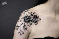 Blackwork Orchid Tattoo by panterart