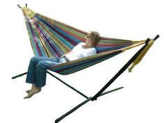 Vivere UHSDO9 Double Hammock with Space-Saving Steel Stand by Vivere. $121.38. Space-saving 9 foot stand is constructed of heavy duty steel and assembles in minutes without any tools. Hammock is 100% cotton. Hammock bed is 63 x 94 inches, with a total length of 130 inches; accommodates two adults, 450 pound capacity. Double hammock with space-saving stand. Carrying case is included. Amazon.com                  Vivere UHSDO9 Double Hammock with Space-Saving Steel Stan...