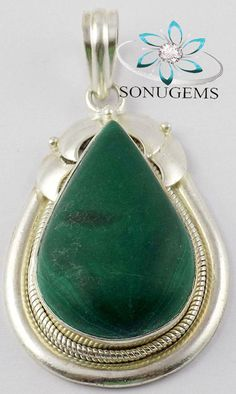 Natural Malachite 20x32mm Pear Gemstone 925 Sterling by SONUGEMS