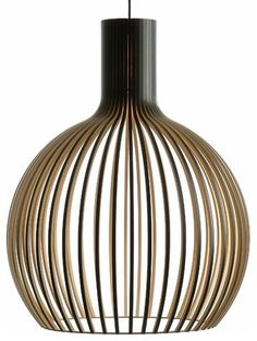 Secto Design's Octo 4240 is a wooden pendant light with a large size yet slender and airy feel. Octo catches the eye immediately and provides inviting ambient lighting in any space. Cage Pendant Light, Pendant Lighting, Pendant Lamps, Pendants, Contemporary Pendant Lights, Black Lamps, Lamp Design, Hanging Lights, Ceiling Lights