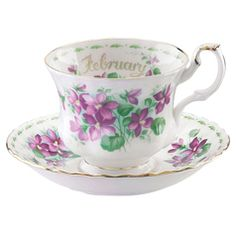 Royal Albert Flower of the Month February Teacup & Saucer - Violets (1970's)