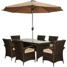 International The-Hom Bora 8-piece Outdoor Wicker Dinning Set ($1,459) ❤ liked on Polyvore featuring home, outdoors, patio furniture, outdoor patio sets, beige, outdoor wicker patio furniture, antique white dining set, wicker table and chairs and outdoor armchair