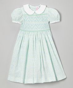 Take a look at the Mint & Blue Floral Smocked Collar Dress - Infant, Toddler & Girls on #zulily today!