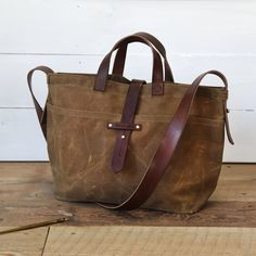 Tote Bag for Women Tote Bag Spice Waxed Canvas Crossbody Bag Waxed Canvas Bag, Canvas Tote Bags, Canvas Crossbody Bag, Leather Crossbody Bag, Bag Women, Minimalist Bag, Leather Handle, Totes, Shoulder Bag