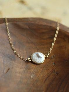 Nantucket /pearl, vermeil & 14k gold filled necklace. $31.00, via Etsy.