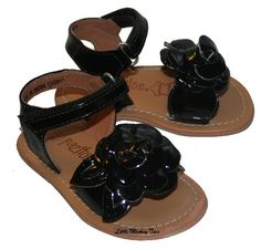 b3f356e92a4e Little Monkey Toes - Pazitos Camela Black Patent Flower Sandals - Black -   54.00 Childrens Shoes