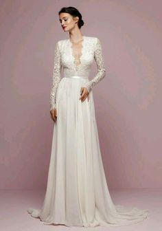 vintage plunging wedding dresses with long sleeves