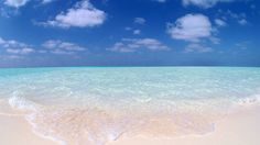Clear blue water white sand.