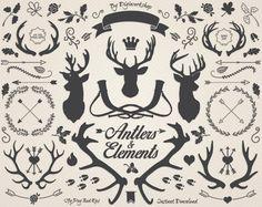 Antlers clipart cerfs clip art « Andouiller Silhouettes et éléments » un ensemble de bois de cerf différents et autres décoratifs et Articles de Noël