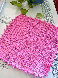 "Pink Crush 12"" square, free pattern by April Moreland   . . . .   ღTrish W ~ http://www.pinterest.com/trishw/  . . . .  #crochet #heart #motif"