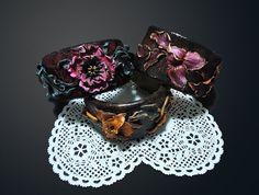 Flower bracelet Crocodile leather bracelet by JoliefleurDeco