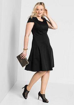 Sheego Kleid Gr 42 grau Trägerkleid Taschen Minikleid A-Linie neu