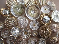 BEAUTIFUL VINTAGE GLASS BUTTONS CLEAR WITH GOLD PAINT 35 pcs. noelhumphrey on eBay.co.uk