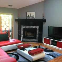 similar to how i want my future living room - red couches, gray ...