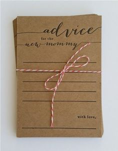 advice for the new mommy - letterpress - pack of 10 - baby shower game - rustic - country - keepsake (kraft paper with black ink)