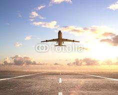 Zdjęcia na płótnie, fototapety na wymiar, obrazy na ścianę : airplane on runway