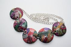 Polymer clay watercolor technique necklace by BitsofClayJewelry