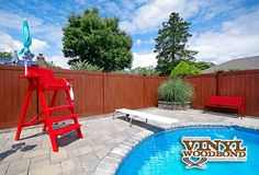 Looking for the best pool fence? Illusions Vinyl Fence of course. This great fence idea is the Grand Illusions Vinyl WoodBond Rosewood V300-6 Privacy Fence. #backyardideas #fenceideas #illusionsfence #privacy #fencing
