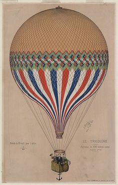 Hot air balloon, 1865. - Place Card Art for Air Balloon tables - Color and theme inspiration