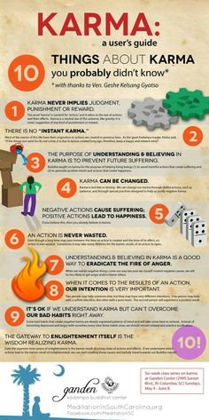 """Karma"" is one of those words that gets thrown around a lot these days. But what is karma, really? Is it luck? Is karma fate? This infographic on karma will teach you ten things about it that you probably didn't know (unless you're already Buddhist, t Affirmations Positives, Instant Karma, Spiritual Awakening, Awakening Quotes, Inner Peace, Self Help, Philosophy, Stress, Mindfulness"