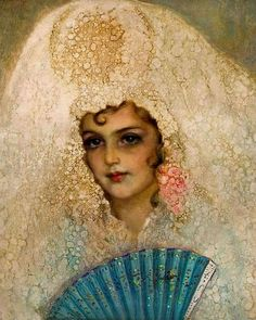 John Bagnold Burgess - A Spanish Lady with a Fan
