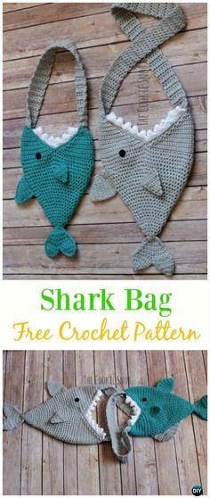 Shark Bag Free Crochet Pattern - Crochet Kids Bags Free Patterns