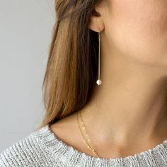 Love those earrings! Etsy Pearl Chain Earrings, Long Dangle Earrings for Women, Dainty Earrings, Gift for Her, Bridal Earrings Cute Cartilage Earrings, Dainty Earrings, Simple Earrings, Chain Earrings, Beautiful Earrings, Crystal Earrings, Gold Earrings, Gold Bracelets, Pearl Drop Earrings