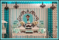 would love to do a Tiffany-style wedding -- love the colors! Check out this Breakfast at Tiffany's dessert table. Tiffany Birthday Party, Tiffany Party, Birthday Parties, Themed Parties, Birthday Ideas, Birthday Cake, 16th Birthday, My Bridal Shower, Bridal Showers