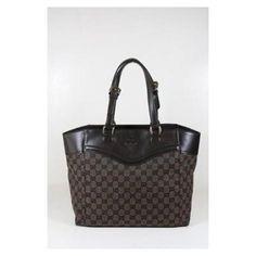 #Gucci Handbags Brown Fabric and Leather #Women Handbags
