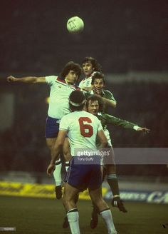 Kevin Keegan (left) of England wins the header as Steve Foster #6 also of England looks on during a match against Northern Ireland at Wembley Stadium in London. \ Mandatory Credit: Tony Duffy/Allsport